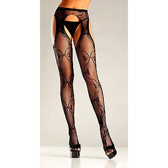 Be Wicked BW669 Bow lace suspender pantyhose