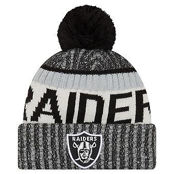 Ny æra NFL BIBESKÆFTIGELSE 2017 Bobble Hat - Oakland Raiders