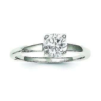 925 Sterling Silver Solid Solitaire Round Cubic Zirconia Ring - Taille de l'anneau: 6 à 8
