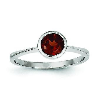 Sterling Silver Bezel Polished Rhodium-plated Garnet Ring - Ring Size: 6 to 8