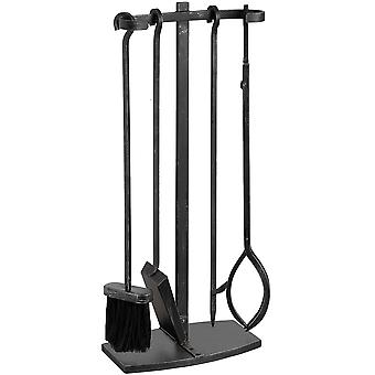 Hill Interiors Black Brushed Steel Hook Top Companion Set