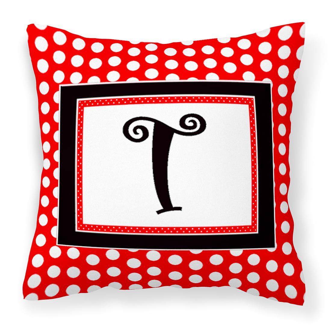 Initial Décoratifs Tissu Pois Noirs Rouge MonogrammeT Toile Oreiller dCBrxoe