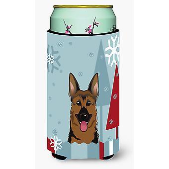 Winter Holiday German Shepherd Tall Boy Beverage Insulator Hugger