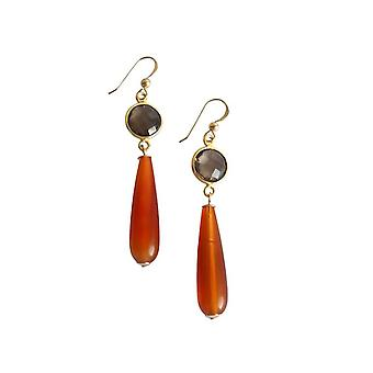 Gemshine - Damen - Ohrringe - Vergoldet - Karneol - Rauchquarz - Orange - Braun - PARTY DROPS - 5 cm