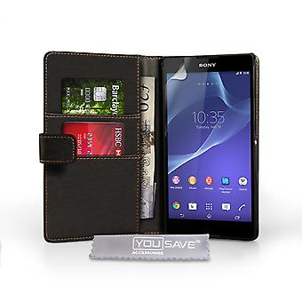Sony Xperia T2 Ultra skinn-effekt lommebok Case - svart