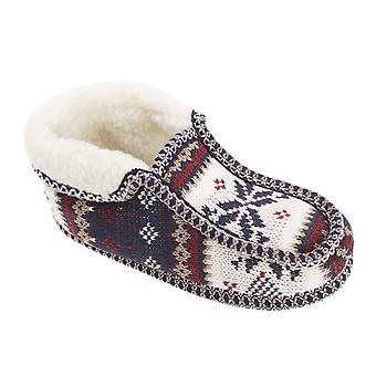 Slumberzzz Womens/Ladies Fair Isle Pattern Moccasin Slippers