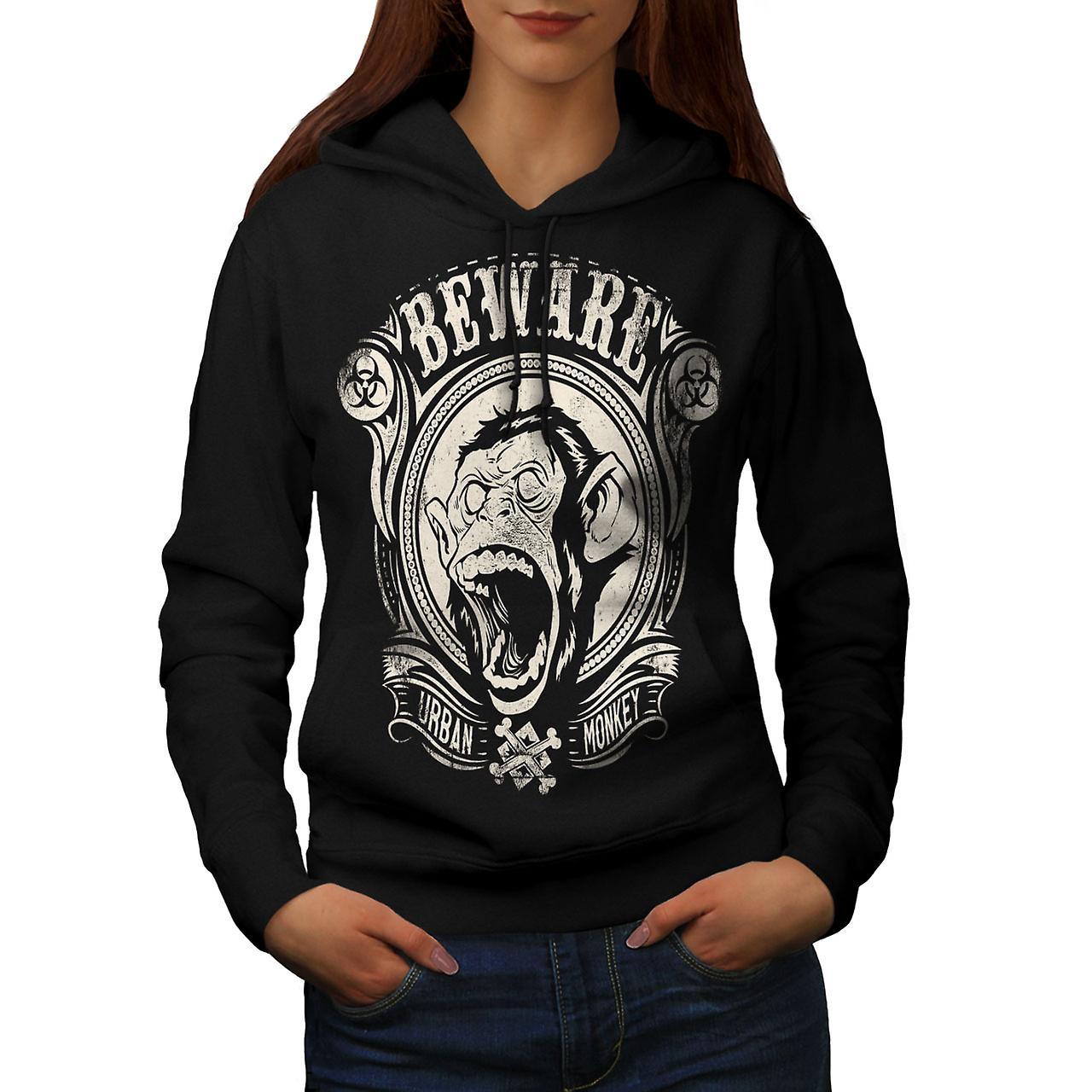 Beware Monkey Vintage Women Black Hoodie | Wellcoda