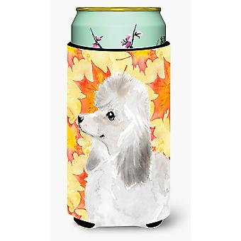White Standard Poodle Fall Tall Boy Beverage Insulator Hugger