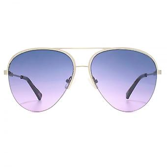 French Connection Premium Half Rim Pilot Sunglasses In Matte Silver