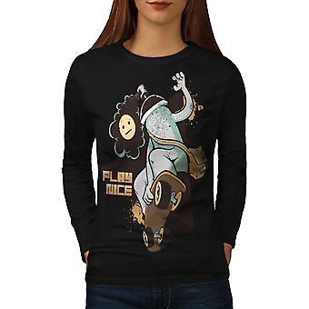 Play Nice Skate Fashion Women BlackLong Sleeve T-shirt | Wellcoda