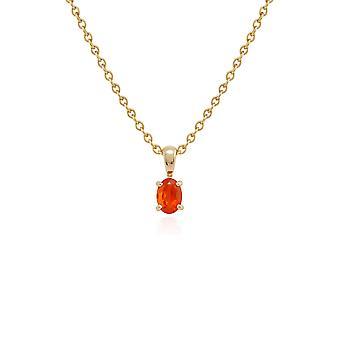 Gemondo 9ct Gelb Gold Feueropal einzigen Stein 45cm Halskette