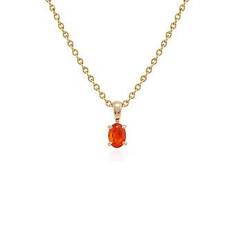 Gemondo 9ct geel gouden vuur opaal één steen 45cm ketting