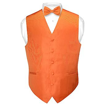Men's Dress Vest & BOWTie Vertical Striped Design Bow Tie Set