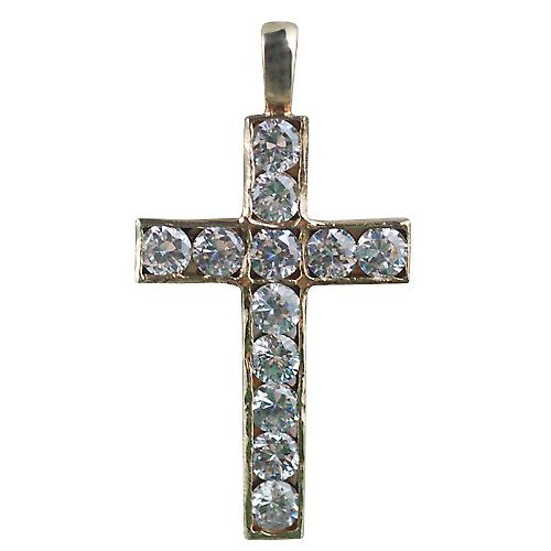 9ct Gold 34x21mm Apostle's Cross set with 12 Cubic Zirconia
