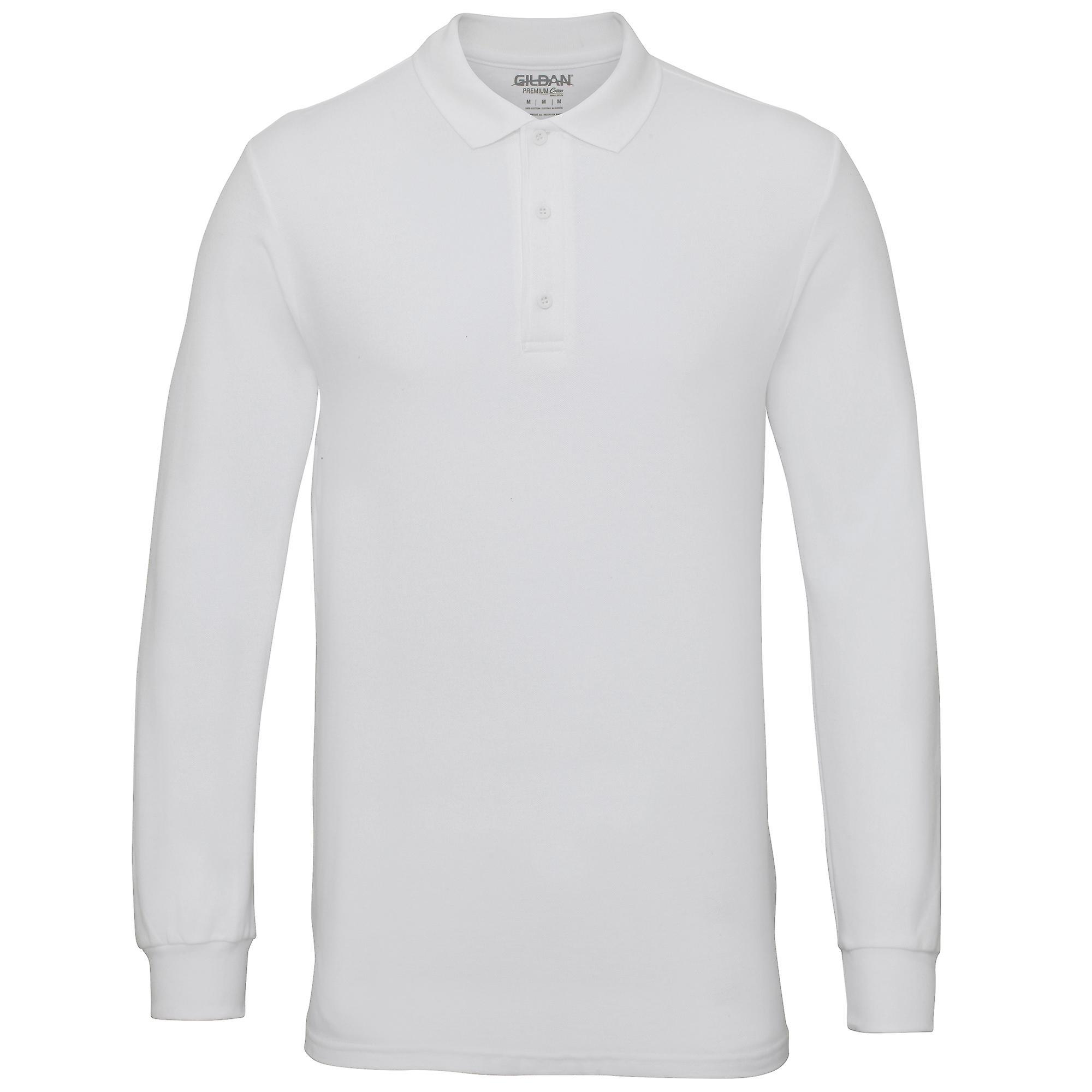619eef35a270 Gildan Herren Langarm Doppel Pique Baumwolle Polo-Shirt   Fruugo