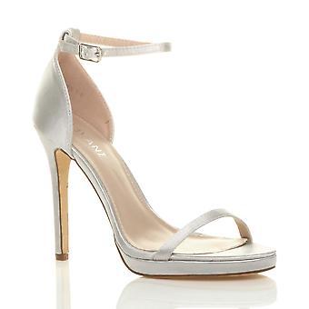 Ajvani dame høj hæl peep toe knap der ankel rem spænde sandaler