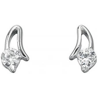 Beginnings Cubic Zirconia Open Setting Stud Earrings - Silver/Clear