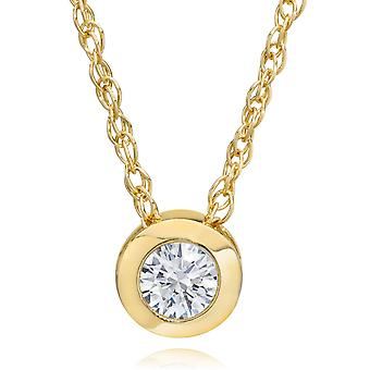 3/8ct F VVS Bezel Solitaire Diamond 14K Yellow Gold