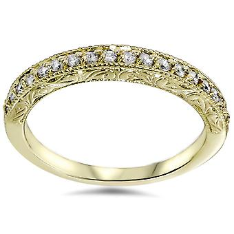 1/2ct Yellow Gold Diamond Vintage Wedding Ring 14K