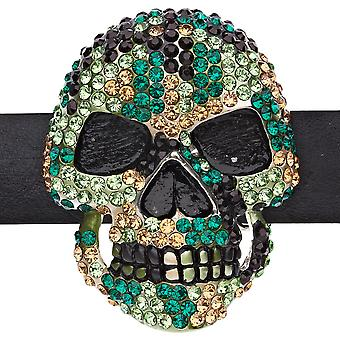 Iced out bling belt - 3D SKULL - wood Camo
