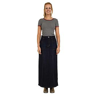 USKEES LISA Long Denim Skirt - Indigo Full Length Maxi Skirt Sizes 10 to 22