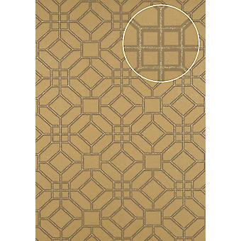 Graphic wallpaper ATLAS 5134-5 non-woven wallpaper imprinted with geometric forms shimmering gold Brown grey 7,035 m2