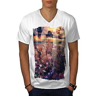Landscape Photo New York Men WhiteV-Neck T-shirt | Wellcoda