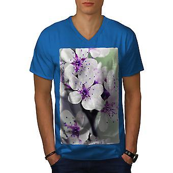 White Flower Photo Men Royal BlueV-Neck T-shirt   Wellcoda