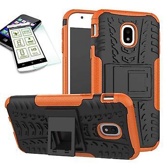 Hybrid Case 2teilig Orange für Samsung Galaxy J3 2017 J330F + Hartglas