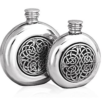 Celtic Knots Round Pewter Flask - 6oz