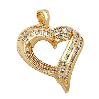 gold-plated heart pendant heart charms, heart gold-plated cubic zirconia