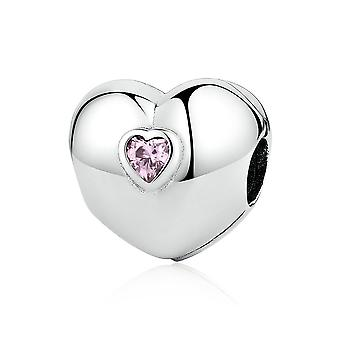 Sterling silver clip Heart with pink zirconia
