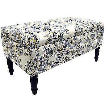 Paisley - Storage Ottoman Stool / Blanket Box / Padded Trunk - Blue / Black / Cream