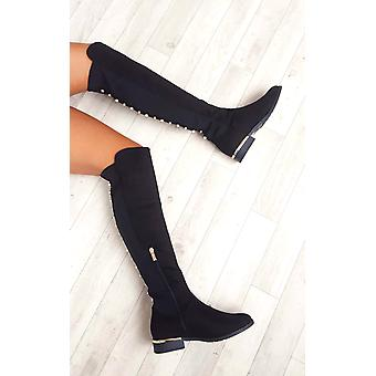 IKRUSH Womens Cleo Faux Suede Studded Knee High Boots