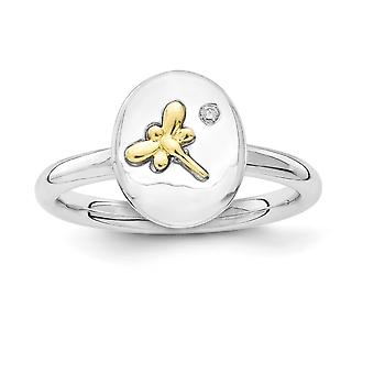2.25mm Sterling Silver Rhodium-plated and 14k Dragonfly Stackable Expressions Diamond Ring - Ring Size: 5 to 10