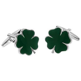 Zennor Lucky Four Leaf Clover Cufflinks - Green/Silver