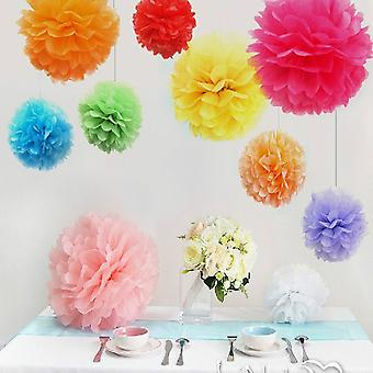 TRIXES 10PC 25cm Pack Assorted Multi Coloured Pom Pom Party Decorations