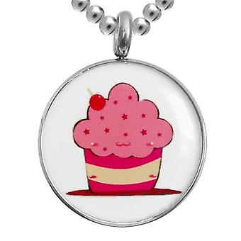 Edelstaal met ketting, sieraden, Cupcake
