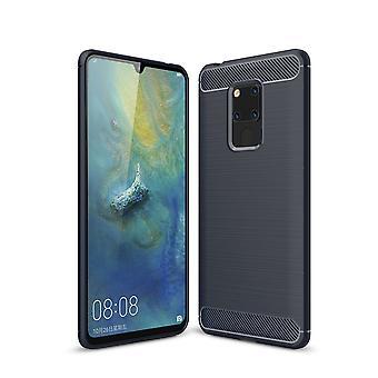 Huawei mate 20 X TPU case carbon fiber optics brushed protective case Blue