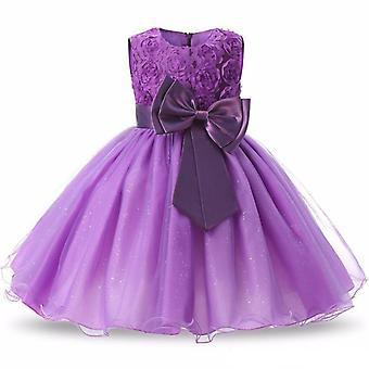 Princess dress with rosette and Flowers-Purple