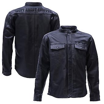 West Coast choppers mens leather jacket OG perforated leather riding shirt