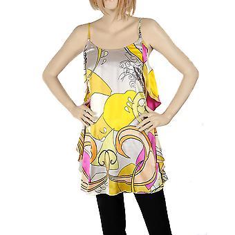 Waooh - mode - jurk grijs bloemdessin zijde
