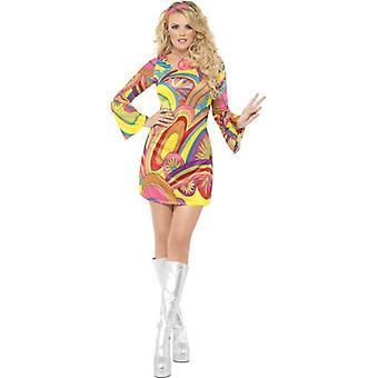 Fever 60's Flower Power Costume, UK Dress 16-18