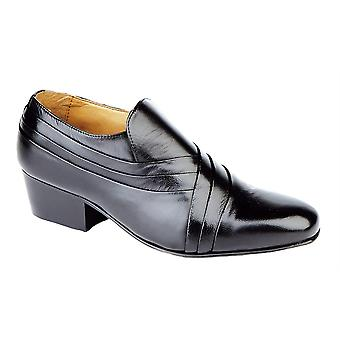 Mens Soft Leather Slip On Cross Pleated Vamp Casual Cuban Heel Formal Dress Shoes