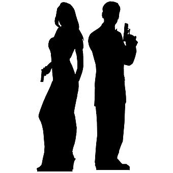 Secret Agent Male and Female Double Pack (James Bond Style) Lifesize Cardboard Cutout / Standee