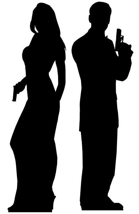 Secret Agent Mannelijke en Vrouwelijke Double Pack (James Bond Style) Levensgrote Kartonnen Knipsel / Standee
