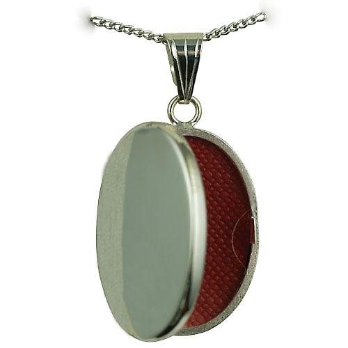 Silver 26x19mm plain flat oval Locket with a curb Chain 20 inches