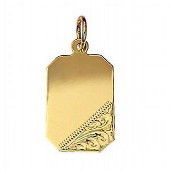 9ct золота 18x12mm ручной гравировкой прямоугольного диска