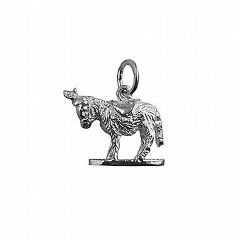 Silver 14x17mm solid Donkey Pendant or Charm