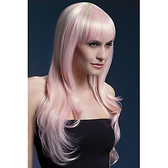 Fever Sienna Wig, Blonde Candy, Long Feathered with Fringe, 66cm / 26in Fancy Dress Accessory